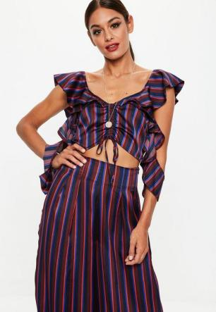 tall-burgundy-cold-shoulder-frill-stripe-top
