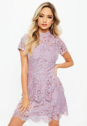 tall-pink-short-sleeve-layered-lace-dress